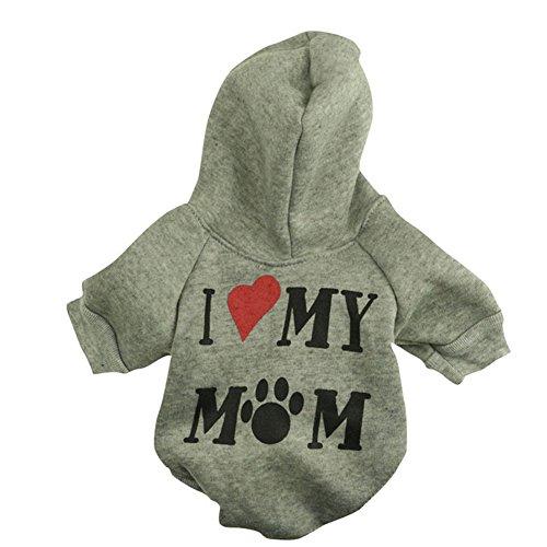 Zantec Nette ich liebe mein Mamma Muster Welpen Haustier BaumwollSweatshirt Kapuzenpulli Hund beiläufige (König Der Hund Kostüm Herzen)