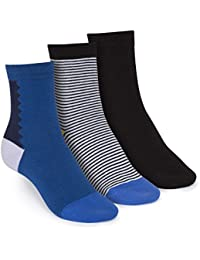 ThokkThokk 3er Pack Mid-Top Socken Art Deco/B&W Striped/Black GOTS Fairtrade
