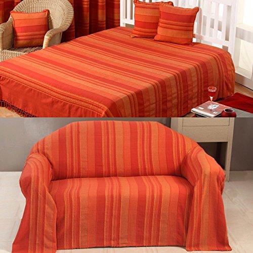 Homescapes waschbare Tagesdecke Sofaüberwurf Plaid Morocco 225 x 255 cm in Streifen-Design Bettüberwurf aus 100{36fa4a813e721e960034b89baddb326f5160ca61403bdbcbbe73796cb088ffb3} reiner Baumwolle in terracotta