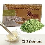 Eselsmilchseife mit 21% Eselsmilch Olivenöl grüne Tonerde - handgemachte Naturseife bei fettige unreine Haut, strafft und entgiftet 100 g