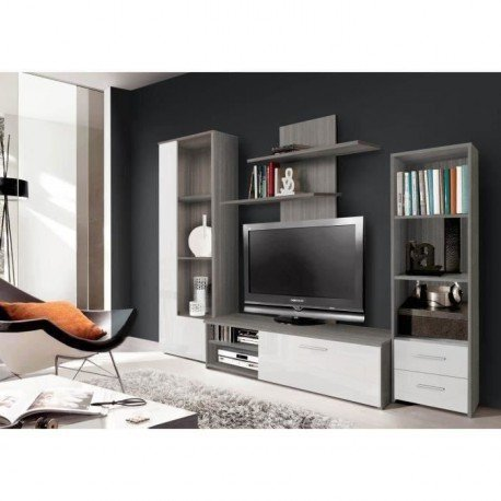 FINLANDEK Meuble TV mural PYSYÄ 230 cm - Décor chene gris et blanc brillant