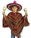 Karneval-Klamotten' Mexikaner Kostüm Kinder mexikanischer Poncho Mehrfarbig Jungen Mädchen Einheitsgröße