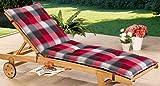 Schwar Textilien Rollliegenauflage Liege Gartenliege Liegestuhl Liegestuhlauflage 8cm dick karomuster (rot-grau)