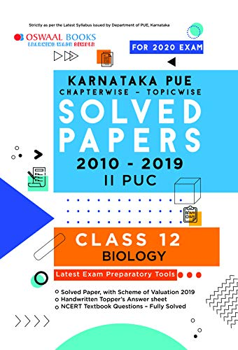 Oswaal Karnataka PUE Solved Papers II PUC Biology Chapterwise & Topicwise (For March 2020 Exam)