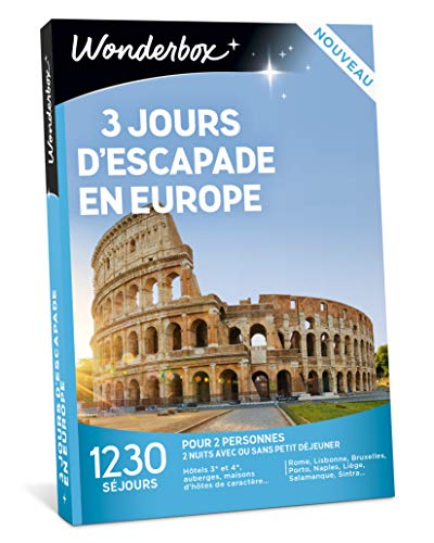 Wonderbox - Coffret cadeau- 3 JOURS D'ESCAPADE EN EUROPE - 1230 séjours en hôtels...
