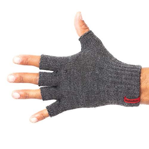 SMILODOX Fingerlose Handschuhe | Praktische Winterhandschuhe aus Strick | Angenehm weich und flauschig für Alltag & Freizeit | Unisex & One-Size, Farbe:Anthrazit