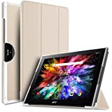 IVSO Acer Iconia Tab 10 (A3-A50) Hülle, Ultra Schlank Ständer Slim Leder zubehör Schutzhülle perfekt geeignet für Acer Iconia Tab 10 A3-A50 2017 Tablet PC(10,1 Zoll), Gold