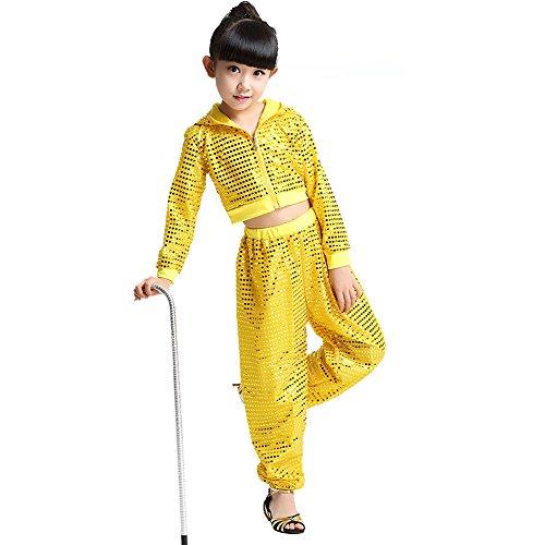 Tanz Street Kostüm - Byjia Kinder Hip Hop Kostüm Tanz Kleidung Mädchen Pailletten Street Set,Yellow,130Cm