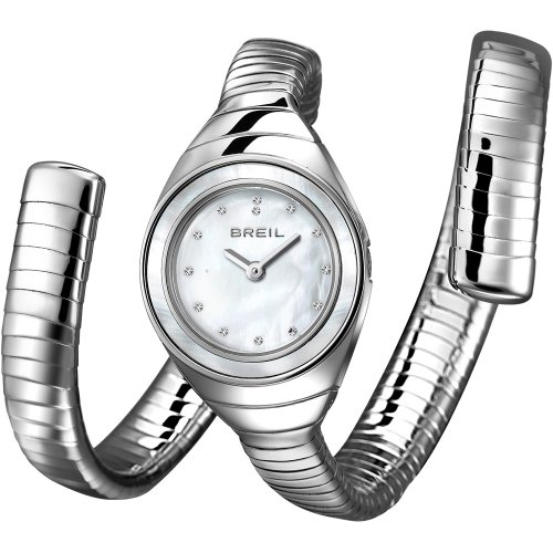 Breil orologio al quarzo con display analogico bianco e argento in acciaio inox braccialetto tw1052
