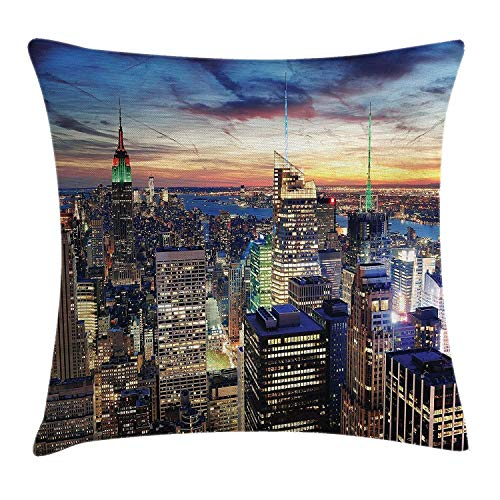 New York Throw Pillow Cushion Cover, Skyline of NYC with Urban Skyscrapers at Sunset Dawn Streets USA Architecture, Decorative Square Accent Pillow Case, 18 X 18 Inches, Orange Blue
