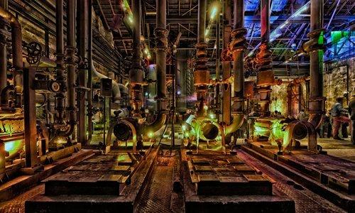Acrylglasbild Rolf Fischer - Duisburg Nacht II - 100 x 60cm - Premiumqualität - Fotokunst, Städte, Duisburg, Industrie Museum, Hüttenwerk, Lichtinstallationen, Abend.. - MADE IN GERMANY - ART-GALERIE-SHOPde