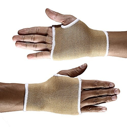 Handgelenkbandage (2 Stück), Mittelgroße Druck-Bandage mit Daumen-, Handinnenflächen-, Karpaltunnel-Klammern und Schienen, lindert Sehnenentzündungen, Arthritis, beige (Arthritis Daumen-unterstützung)