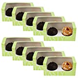 Two(2) Cupcake Box with insert Green 10 Pack