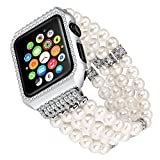 Solomo Uhrenarmband Apple Ersatz, Luxus Glitzer Diamant Metall Schutzhülle mit Handgefertigt Elastic Stretch Armband iWatch Band Mädchen Frauen Strass Armband für Apple Watch Serie 3/2/1 alle Version