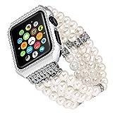 Solomo Uhrenarmband Apple Ersatz, Luxus Glitzer Diamant Metall Schutzhülle mit Handgefertigt Elastic Stretch Armband iWatch Band Mädchen Frauen Strass Armband für Apple Watch Serie 3/2/1alle Version