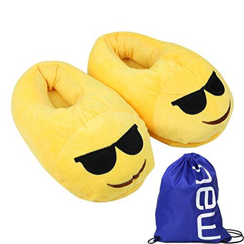 BP@ Pantofole peluche coperta pantofole a casa d'inverno per gli uomini e le donne pantofola smiley peluche Emoji Slipper Natale. (Laugh, 35-41CN)