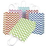 24pcs Bolsas Papel Kraft Multicolor con Asas para Regalos Navidad Fiesta Compras Alimentos Impreso Olas (22 * 16 * 8cm)