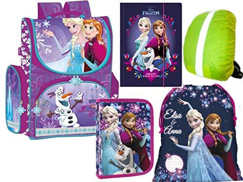 Disney Frozen Eiskönigin Anna, ELSA, Olaf Schulranzen Set Schulrucksack Ranzen, Federmäppchen Federmappe, Turnsack, Gummizugmappe, Regenschutz 5-Teile Frozen Set