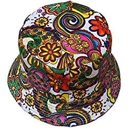 Sombrero De Pescador Adjustable Cap Flower Print Boonie Hats Nepalese Cap Army Mens Sombrero De Pescador Camuflaje Del EjéRcito De Ala Ancha Borde Redondo Anti-Uv AlgodóN Acampada Senderismo Deporte (AH, talla única)