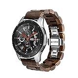Bracelet de Montre en Bois 22 mm pour Samsung Galaxy, 46 mm en Acier Inoxydable,...
