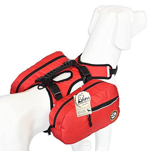 Satteltaschen-Rucksack für große Hunde, mit abnehmbaren Taschen, verwandelt sich sofort in Geschirr, verstellbare Hunde-Satteltasche für Reisen, Wandern, Camping