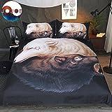 Yin y Yang Lobos Negro de jojoesart Juego de ropa de cama edredón Wolf con fundas de almohada...