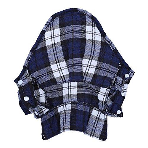 eine Hund Welpen Kariertes T-Shirt Revers Mantel Katze Jacke Kleidung Kostüm Blau XS ()