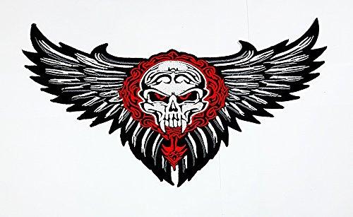 ten Skull Wings Tribal Tattoo Biker Jacke Rider Weste gesticktes Patch Motor Skull Patch Sew Iron on gesticktes Badge Schild Kostüm (Geflügelte Kostüme)