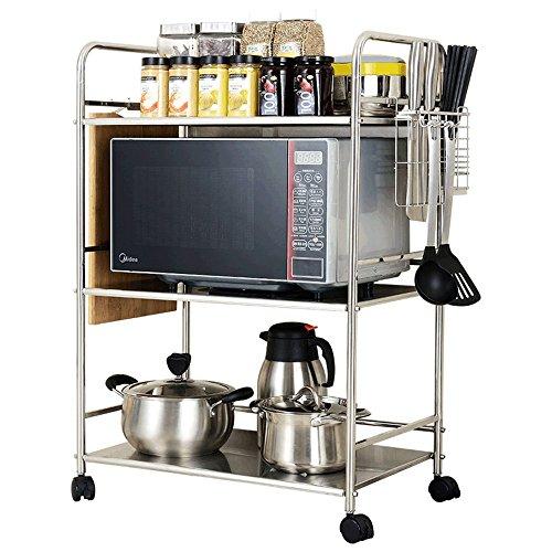 Kitchen shelf Estante de Cocina de Acero Inoxidable Estante de Cocina Estante de Horno de múltiples Capas Estantería Estante 3, 4 Capas (Tamaño : 61 * 37 * 85cm)