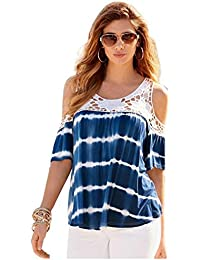 SODIAL(R) Women Summer Style Women Sexy Blouses Fashion Off Shoulder Print Short Sleeve Lace Strapless Loose Beach Blouse Tops Shirt(BLUE,S/US~4/UK~8)