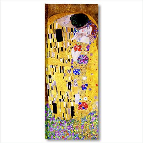 Quadri L&C ITALIA Klimt Il Bacio | Quadro Moderno Stampa Tela Canvas Made in Italy 30 x 83 cm XXL | Riproduzioni Verticale Arte Gustav Salotto, Soggiorno, Camera Letto, Ristorante