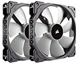 Corsair ML140 - Pack de 2 ventiladores (140 mm, levitación magnética, silencioso), negro (CO-9050044-WW)