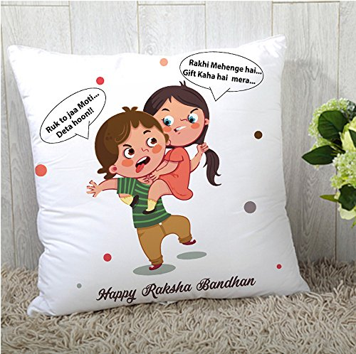 The Purple Tree Rakshabandhan Printed Rakhi Cushion Cover (12x12) - 1 pc , Rakhi Gift, Rakhi Gifts For Sister, Rakshabandhan gift, Rakhi Gift For Brother