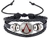 Moda Assassins Creed Pulsera Tiempo Gema Vidrio Tejiendo Cuero Brazalete Encaje Generoso Joyería Simple Niños