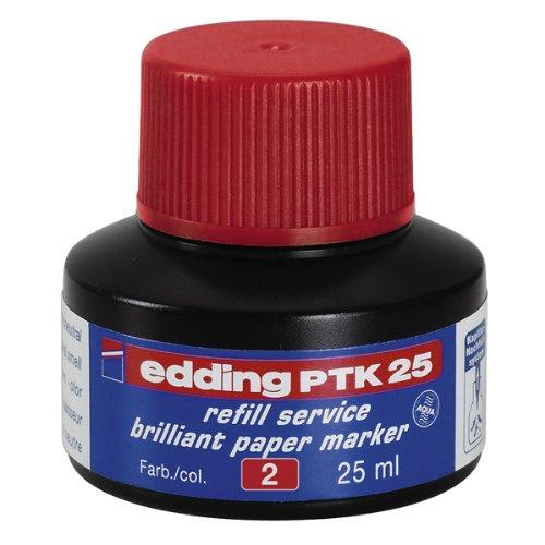 edding PTK25 Brilliant Paper Marker Nachfülltinte - Inhalt: 25ml - Farbe: rot - Tusche für edding...