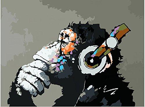 YXQSED [Rahmenlos ] Malen nach Zahlen Neuerscheinungen Neuheiten - DIY ölgemälde, Malen nach Zahlen Kits-Leinenmaterial-Musik und AFFE 16X20 inch