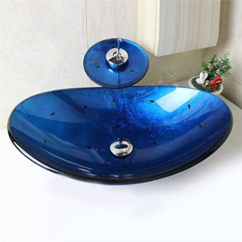 Homelava modernes Hartglas-Waschbecken mit Wasserfall-Wasserhahn, mit Abfluss und Montager