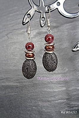Boucles d'oreilles bohême chic crochets acier inoxydable, grenat 8mm et pierre de lave