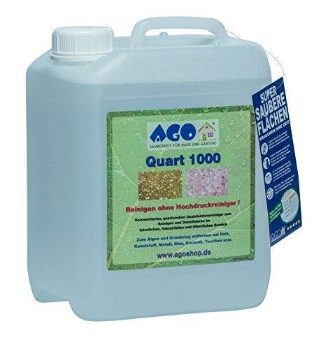 AGO ® Quart 1000 Hochkonzentrat Grünbelagentferner 5 Liter Konzentrat. Gegen Algen, Flechten und sonstige Grünbeläge. Auf jedem Material, Chlor- und Säurefrei