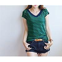 TAIDUJUEDINGYIQIE Camiseta de Manga Corta para Mujer V Collar Slim New, Green Stripe, 3XL