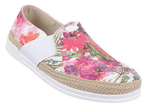 Damen-Schuhe Slipper | stilvolle Halbschuhe in verschiedenen Farben und Größen | Schuhcity24 | Stiefel Stiefeletten Espradrilles | Florales Muster Rosa