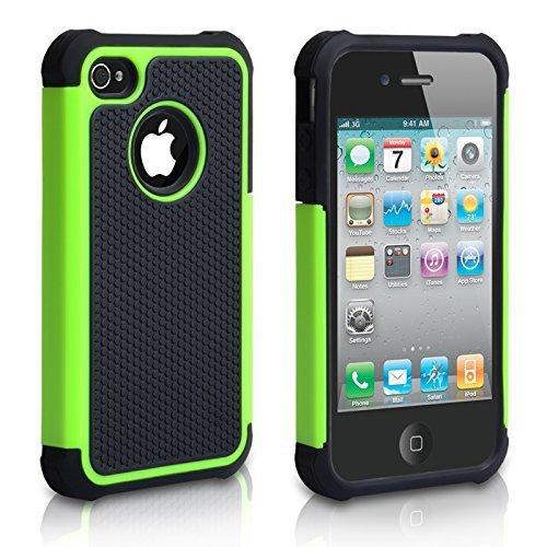 TM Dual Combo Griff Zurück Hart Und Weich Silikon Gel Schutzhülle Für Das Apple iPhone 4 / 4S Grün / Schwarz Mit Displayschutz Film Und Graues Micro Faser Poliertuch - Zubehör Paket ()