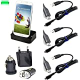 Totalcase 6 in 1 Kit Set Dockingstation Schwarz 3 x Ladekabel Samsung Galaxy S2 S3 S4 S6 S6 edge mini Ladestation Netzteil Kabel KFZ Micro USB