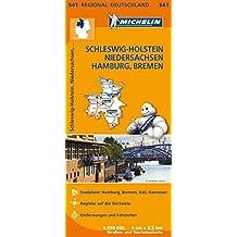 Michelin Schleswig-Holstein, Niedersachsen, Hamburg, Bremen: Straßen- und Tourismuskarte 1:350.000 (MICHELIN Regionalkarten)