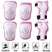 Gudotra 6PCS ProtectoresparaPatines Infantiles Juego de Protectores Infantil para LasRodillasCodosyMuñecas para Patinaje Ciclismo Monopatín Bicicleta BuenRegaloparaNiños (Rosa)