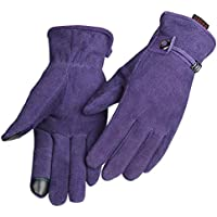 OZERO women warm gloves with deer split leather and touch screen pads,1 pair