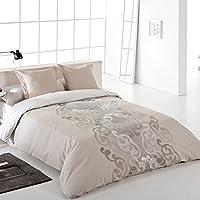 Reig Martí Aura - Juego de funda nórdica jacquard, 3 piezas, para cama de 135 cm, color beige