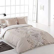 Reig Martí Aura - Juego de funda nórdica jacquard, 4 piezas, para cama de 180 cm, color beige