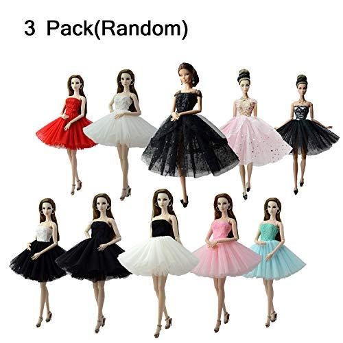 KidsHobby 3 Stück Kleider Set Abendkleid Ballkleid Prinzessin Kleidung Dress Bekleidung für Puppen Weihnachten Party Geschenke (Zufällig) (Kleidung Barbie Kleid)