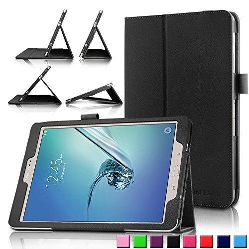 Infiland Samsung Galaxy Tab S2 9.7 Hülle Case -Slim Fit Folio PU-lederne dünne Kunstleder Schutzhülle Cover Tasche für Samsung Galaxy Tab S2 T810N / T815N 24,6 cm (9,7 Zoll) Tablet-PC(mit Auto Schlaf / Wach Funktion)(Schwarz)